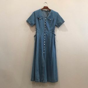 Vtg denim jean button down corset maxi dress sz 8